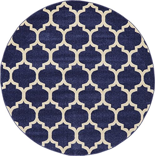 Unique Loom Trellis Collection Moroccan Lattice Dark Blue Round Rug (6' 0 x 6' 0)