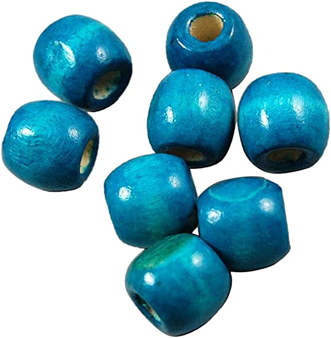 100 Pieces Dyed Round Wood Wooden Beads Kids Jewellery Making Findings 16 x 17mm Wholesale Blue 17mm