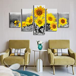5 Panels Canvas Painting Sunflowers Wall Art Decor Black and White Canvas Print Floral Landscape Pictures Paintings Ready to Hang for Home Wall Decoration Living Room Office 32x60inches