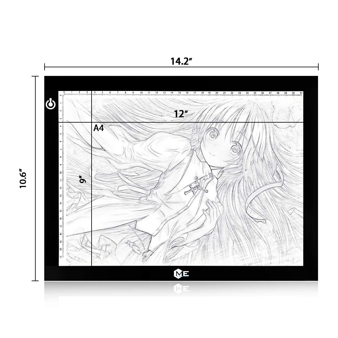 Dimmable A4 LED Tracer Light Box Slim Light Pad, ME456 USB Power Drawing Copy Board Tattoo Tracing LED Light Table for Artists Designing, Animation, Sketching, Stenciling (Black) by ME456 (Image #4)