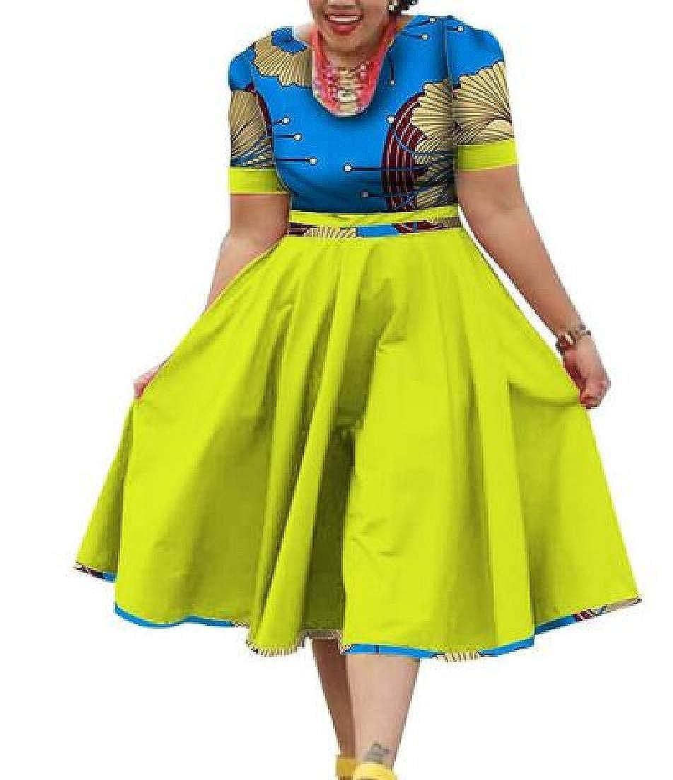 2 KLJR Women Round Neck African Printed Dashiki Short Sleeve ALine Midi Dress