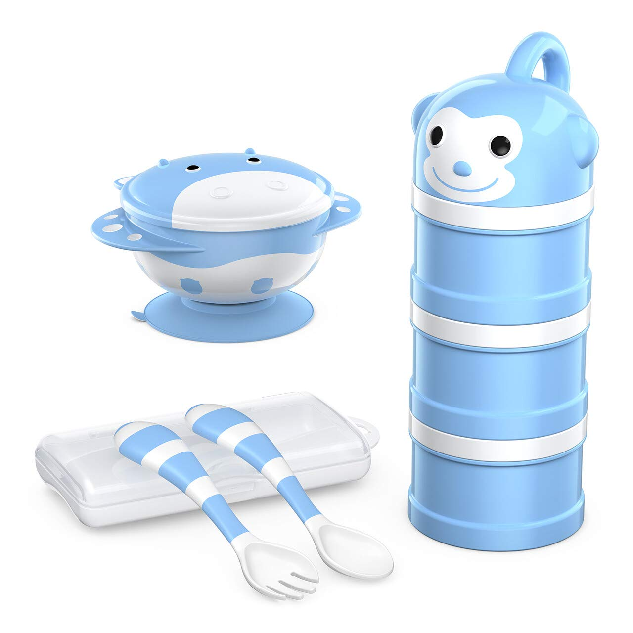 BabyKing Baby Suction Bowl and Spoon Set, Harmless Baby Feeding Set, Children Tableware Set, Stay Put Baby Suction Bowl Spill Proof, Spoons Forks Set, 3 Milk Powder Dispensers for Baby's 3 Meal