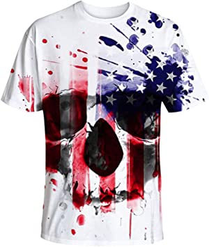 YOcheerful Women Tops American Independence Day Shirts Printed Skull T-Shirt Short Sleeve Blouse Loose Tops