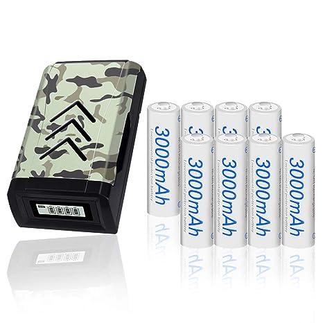 PALO AA AAA Cargador de batería USB LCD con 8 baterías AA ...