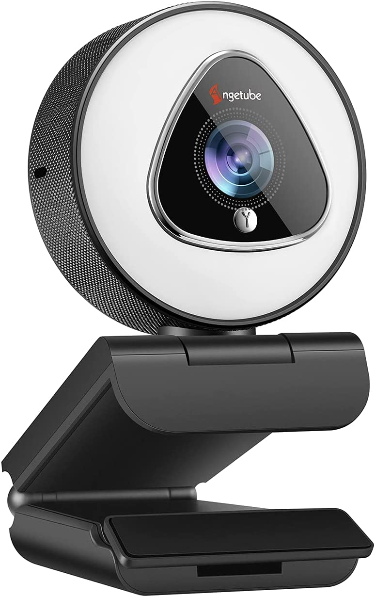 Webcam with Ring Light for Streaming - 1080P HD Web Camera with Microphone - Angetube Auto Focus Computer   Laptop   Desktop USB Camera for Xbox PC Gaming Stream, Zoom Meeting, Video Calling, Twitch
