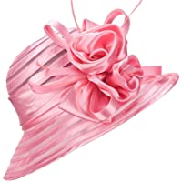 AS ROSE RICH Cloche Hat Fascinator Kentucky Derby Hat Floral Sinamay Hats Girls and Women for Melbourne Cup