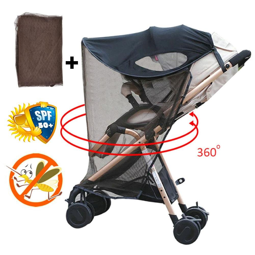 Sun and Sleep Stroller Cover, Anti-UV Windproof Insect Mosquito Repellent Sun Shade for Strollers Car Seat Black