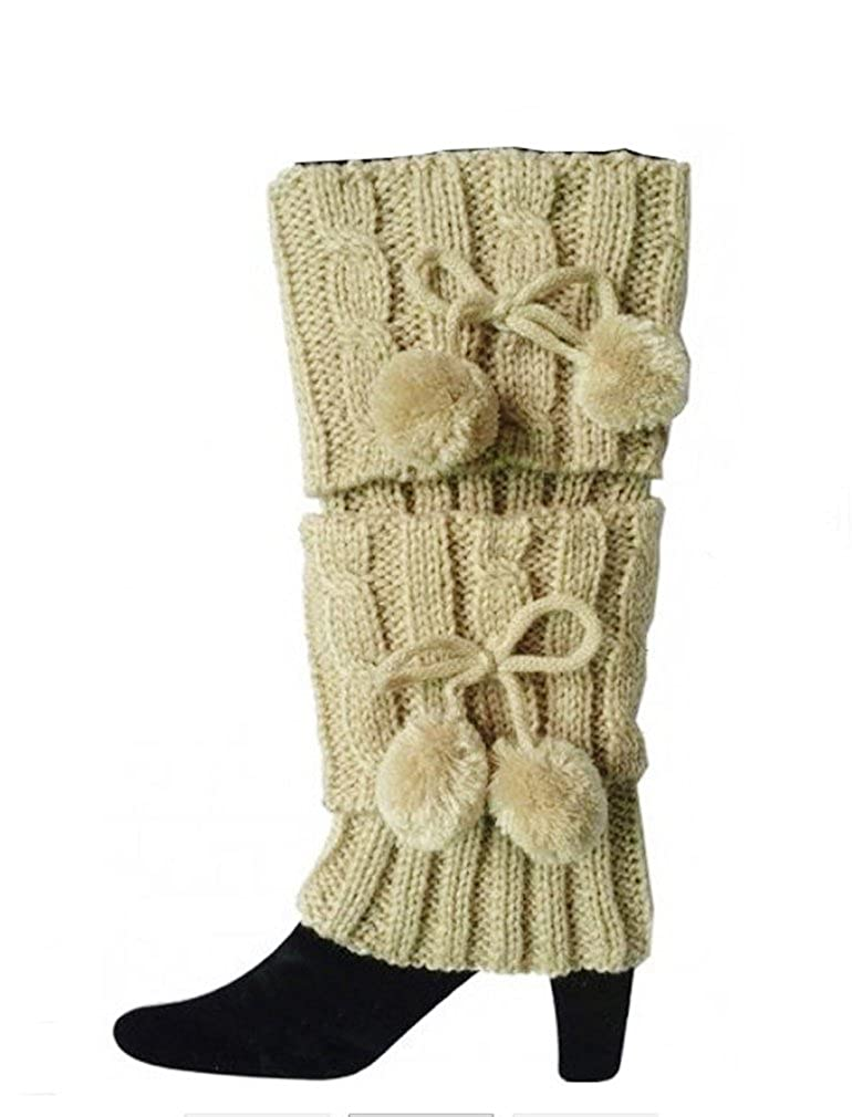 Womens Crochet Boot Cuffs Toppers Knit Leg Warmers With Pom Poms