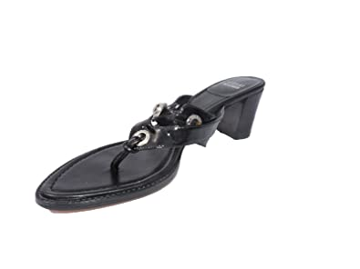 fb483798bb7 Image Unavailable. Image not available for. Color  Stuart Weitzman Womens  Bitsy Black Patent Leather 2.25 quot  Heel Thong Sandals ...