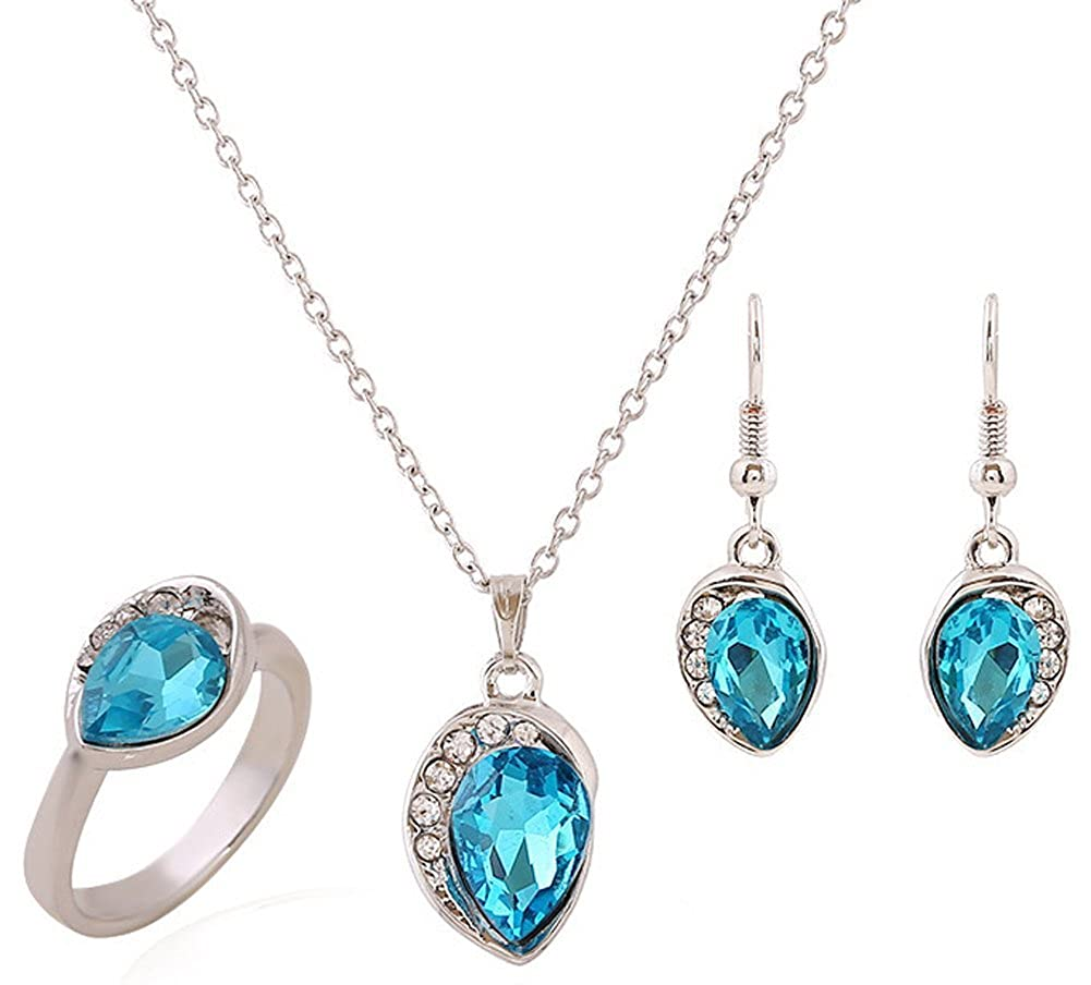 Austrian Crystal Platinum Plated Jewelry Set Pendant Necklace Richy-Glory