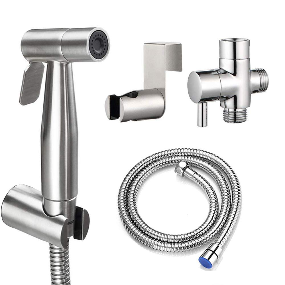 HOMY Hand Held Bidet Sprayer for Bathroom Toilet, Premium Brushed Stainless Steel Diaper Sprayer Shattaf Complete Set-57.8'' Hose High Pressure with Adjustable Water Flow, Valve and Spray Holder