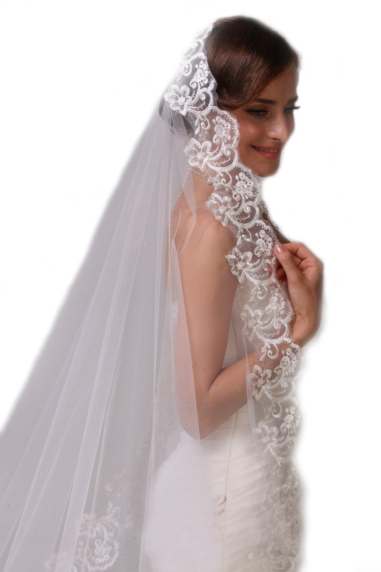 """Passat Pale Ivory 1 Tier 80"""""""" Long Scattered stars sprinkled throughout this dazzling wedding bridal veil H16 Size"""