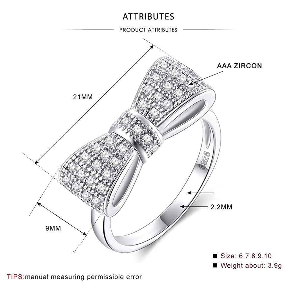 DARLING HER Fashion Solid 925 Sterling Silver Exquisite Fashion Bow Tie Wedding /& Engagement Ring Made with Cubic Zirconia Jewelry
