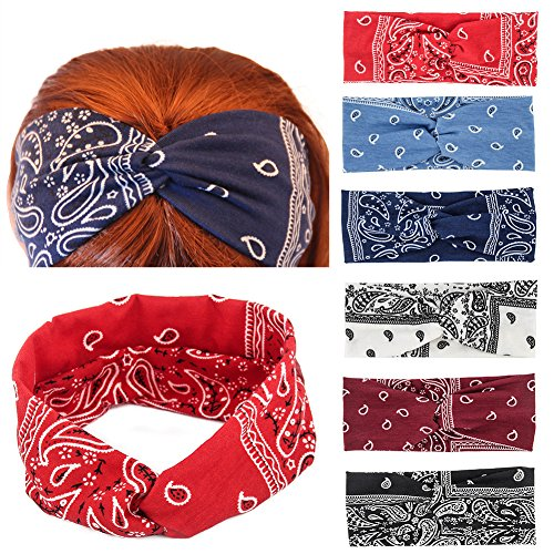 Yeshan Paisley Print Wide Bandana Knot Headbands Criss Cross Head Wrap Hair Band,pack of 6 ()
