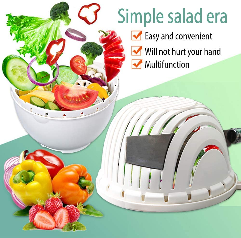 Salad Cutter Bowl Upgraded Easy Speed Salad Maker,Fast Fruit Vegetable Salad Chopper Bowl ,Gift Cut Vegetable Hand Guard And Stainless Steel Straws,Fresh Salad Slicer