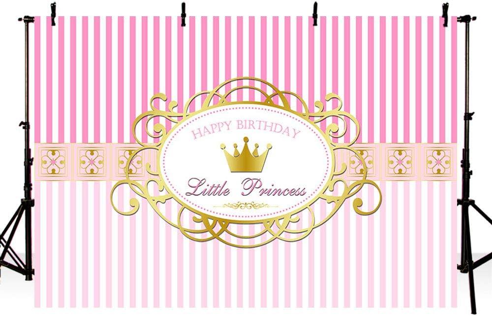 5x4FT Little Princess 1st Birthday Backdrop Pink White Striped Banner Luxury Royal Crown Kids B Day Background Golden Glitter Spots Vintage Frame Cake Table Portrait Vinyl Prop Studio Wallpaper