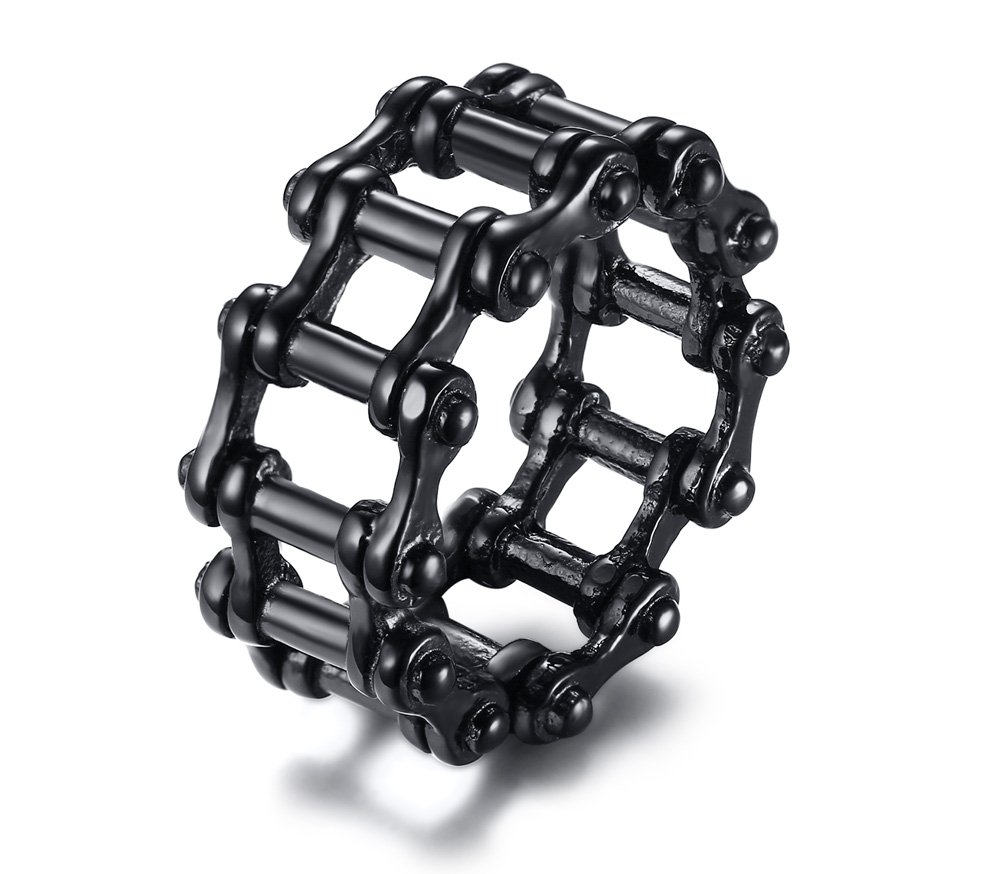 Stainless Steel Black Ion Plated Motorcycle Biker Ring for Men,Cool Punk Rock Style Biker Jewelry,size 13