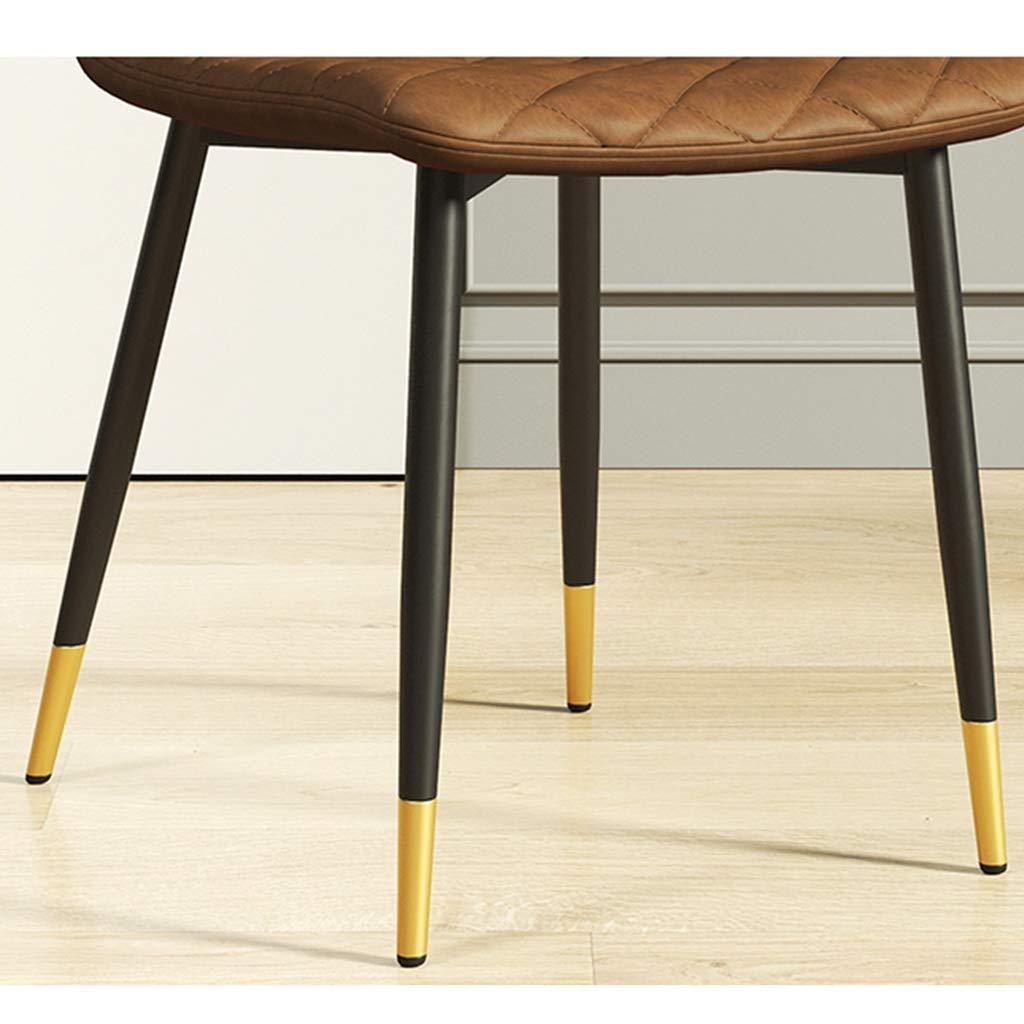 HEJINXL köksstolar, uppsättning med 2 matstolar förtjockat PU-läder ryggstöd smidesjärn maskinvara kant modern nordisk stol hem enkel kontor konferensstol (färg: E) a