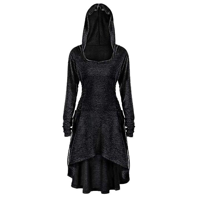 feiXIANG Vestito da Donna Elegante Vestiti Eleganti con Cappuccio Felpe  Tinta Unita Mini Dress Abito da Sera a Manica Lunga Pullover Invernali  Damigella ... 0d263c44ec0