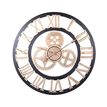 Jo332Bertram Reloj De Pared Vintage, 60cm Gear Relojes de Pared Grande Silencioso para Cocinas, Dormitorios, Oficinas, Sala (Dorado): Amazon.es: Hogar