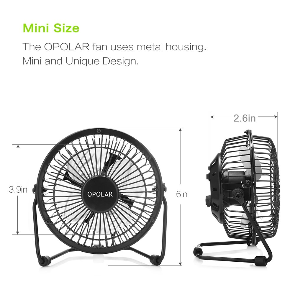 OPOLAR USB Desk Personal Fan, Small and Quiet, Metal Design for Home Office Personal Cooling, Two Pack by OPOLAR (Image #6)