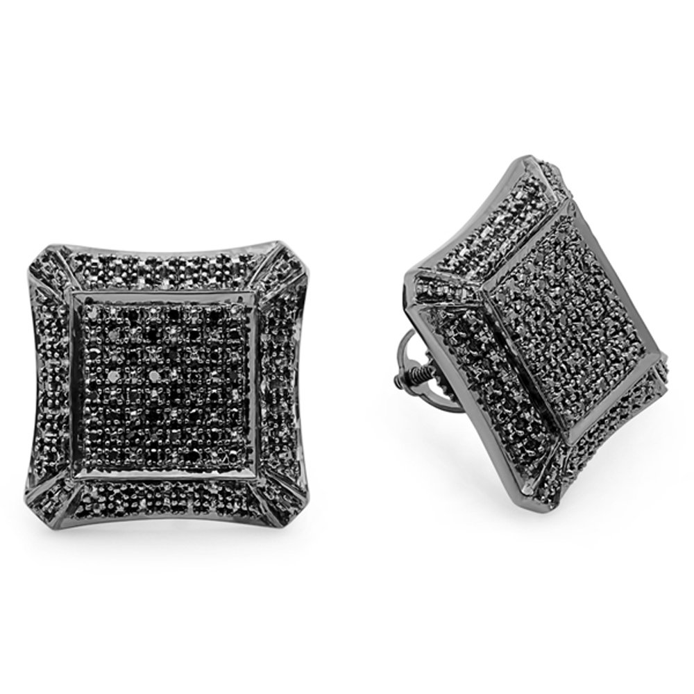 0.18 Carat (ctw) Sterling Silver Round Black Diamond Micro Pave Setting Kite Shape Stud Earrings
