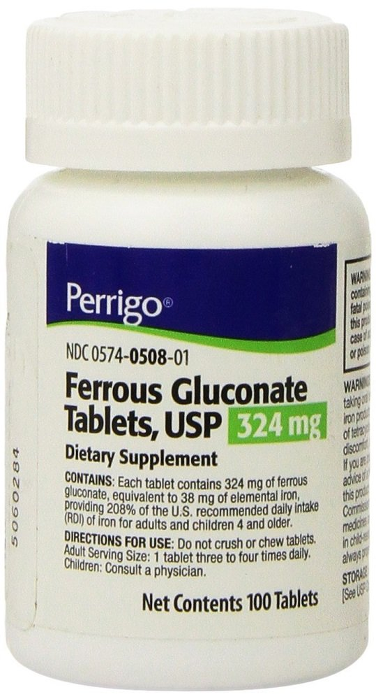 Ferrous Gluconate Green Tablets, 324mg, 100ct (3 Pack)