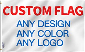 Anley Double Sided Custom Flag 2x3 Ft for Outdoors - Print Your Own Logo/Design/Words - Vivid Color, Canvas Header and Double Stitched - Customized Two Side Flags Banners with Brass Grommets 2 X 3 Ft