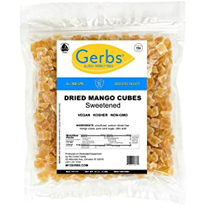 GERBS Dried Mango Cubes, 32 ounce Bag, Unsulfured, Preservative, Top 14 Food Allergy Free