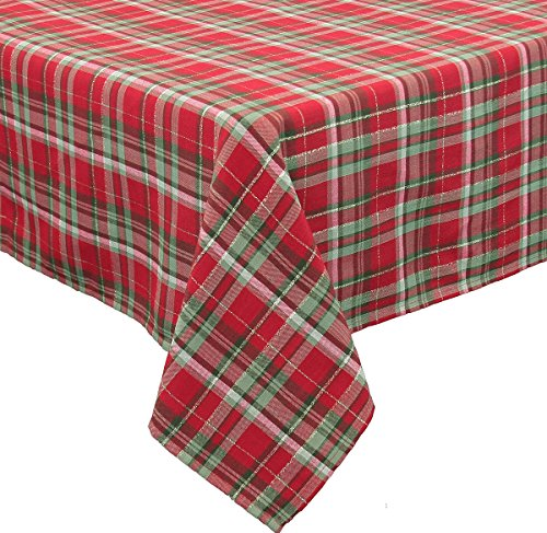 Xia Home Fashions Holiday Tartan Christmas Tablecloth, 70 by - Polyester 108' Tablecloth Round
