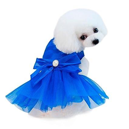 SunGren Vestido de perro pequeño, vestido de burbuja de perro de mascota de moda Gato de perro falda de verano linda para perros pequeños(M,Azul)
