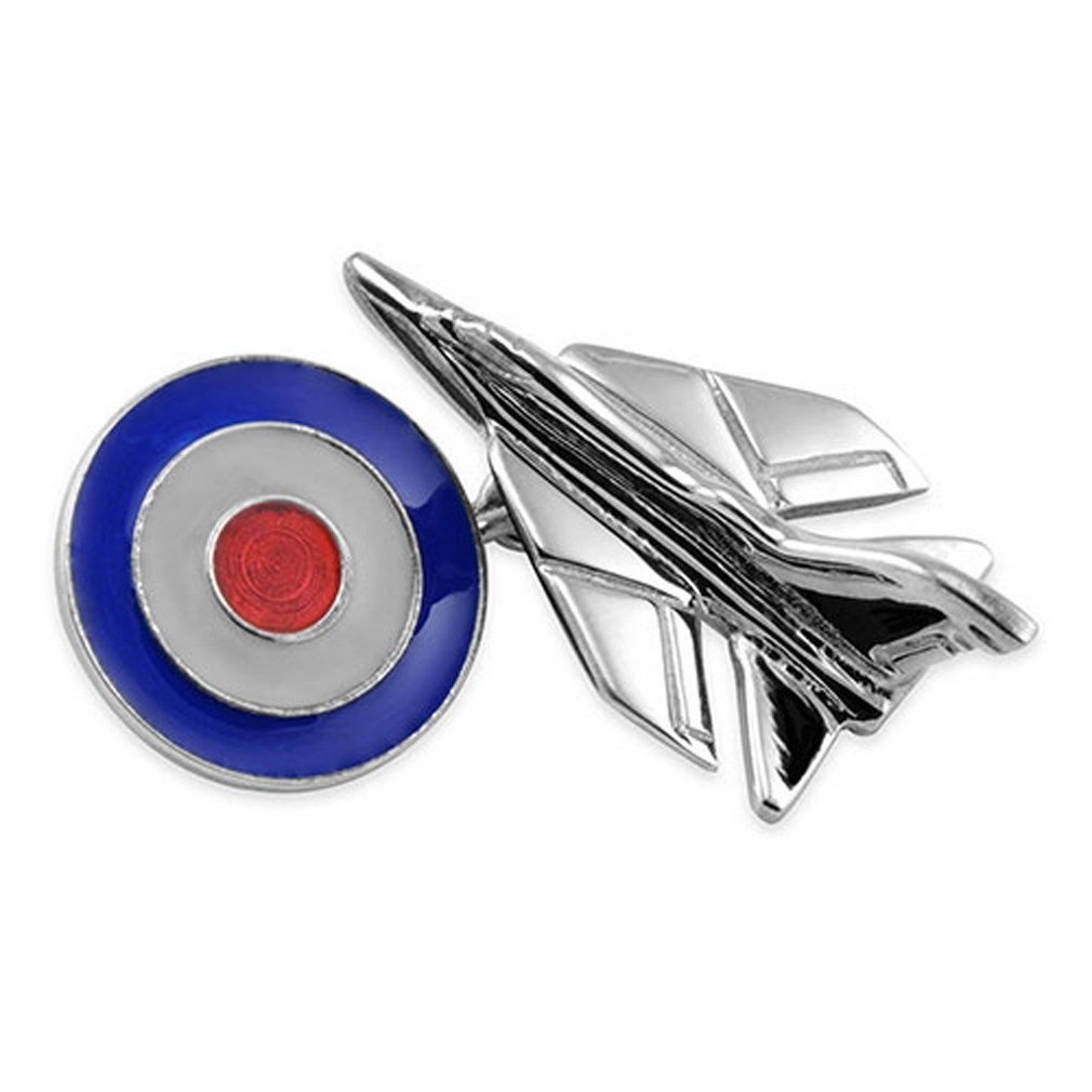 Sterling Silver Fighter Jet with RAF Roundel Cufflinks Tie Clip Box Set