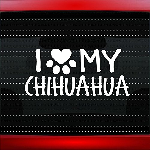 Noizy Graphics I Love My Chihuahua - Dog Paw Heart Pet Family Car Sticker Truck Window Vinyl Decal Color: Lime Green ()