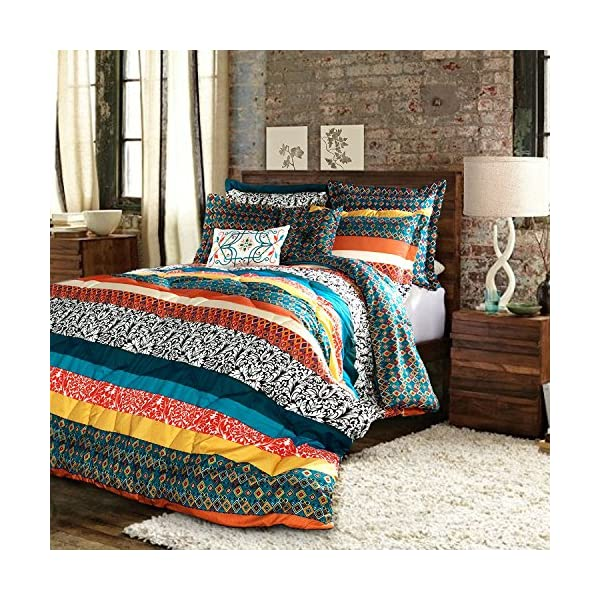 Lush Decor Boho Stripe 3 Piece Quilt Set, Full/Queen, Black and White