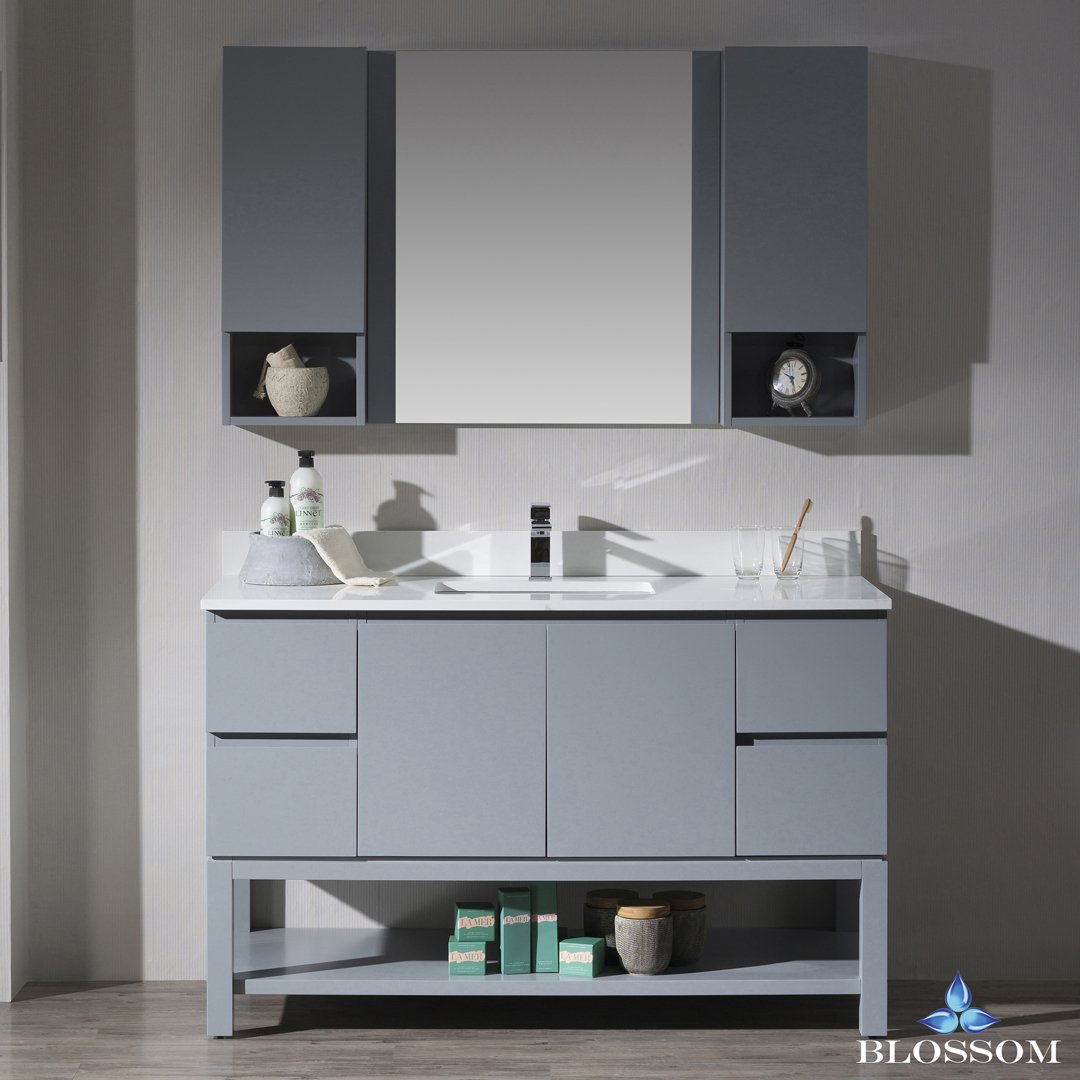 BLOSSOM 000-54-15 Monaco 54'' Vanity Set with Mirror and Wall Cabinets Metal Gray