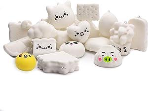 WATINC Random 10 Pcs DIY Squishy Cream Scented Kawaii Simulation Lovely Toy Medium Mini Soft Food Squishies Bread Toys Keychains, Phone Straps, Bonus Random Stickers