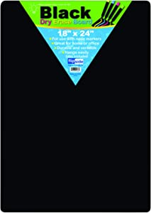"Flipside 40085 Black Dry Erase Boards, 0.25"" Height, 18"" Width, 24"" Length"