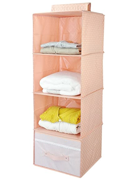 Hanging Wardrobe Accessories Organizer Storage Shelves, 4 Shelf ,  Ultra Thick Wooden Board
