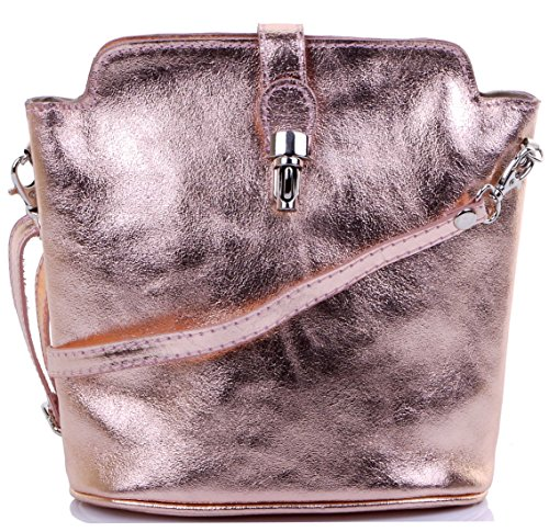 Primo Sacchi Italian Leather Hand Made Metal Effect Rose Gold Small Crossbody Shoulder Bag Handbag