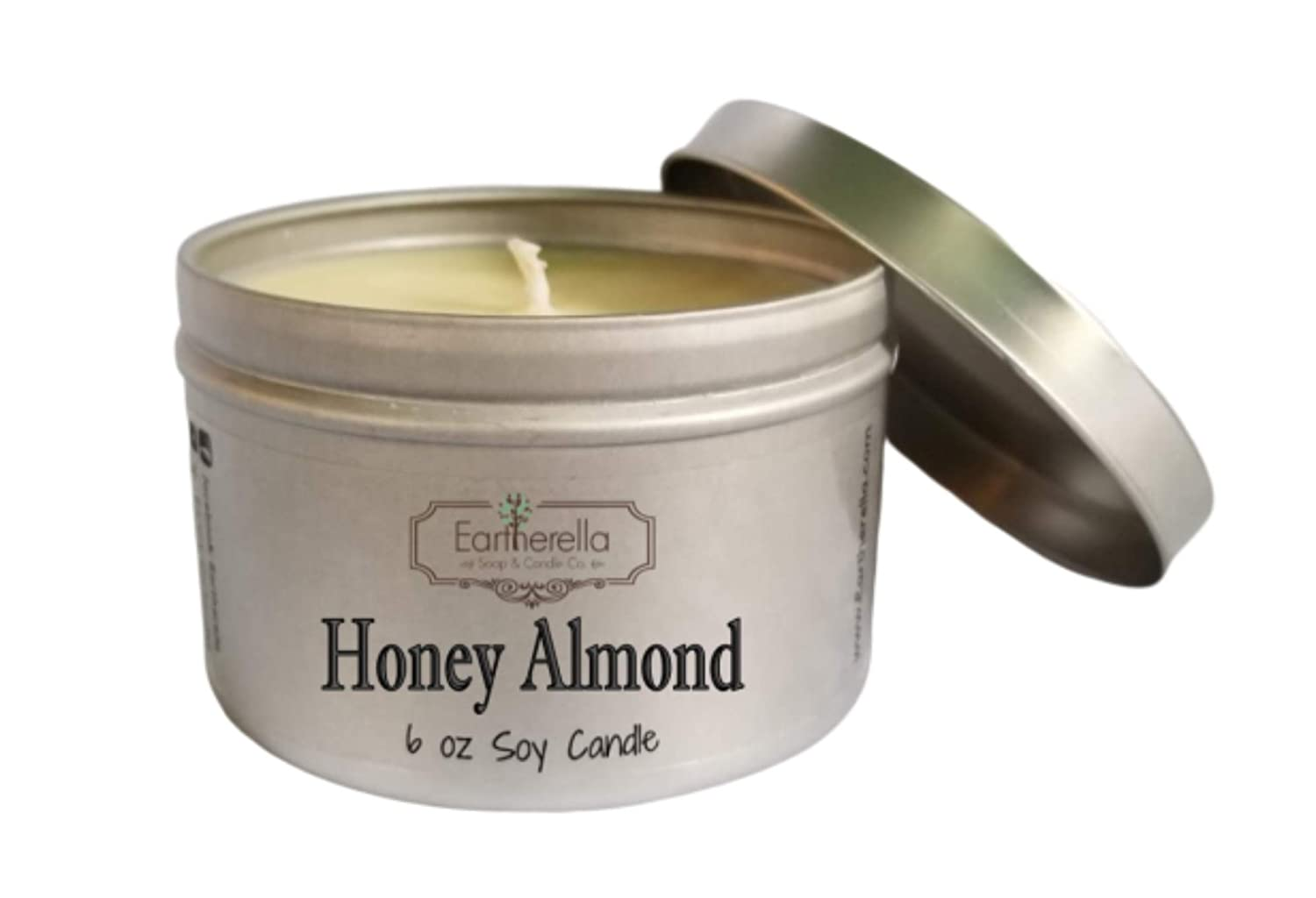 long 40 HONEY ALMOND Natural Soy Wax 6 oz hour burn time Tin Candle