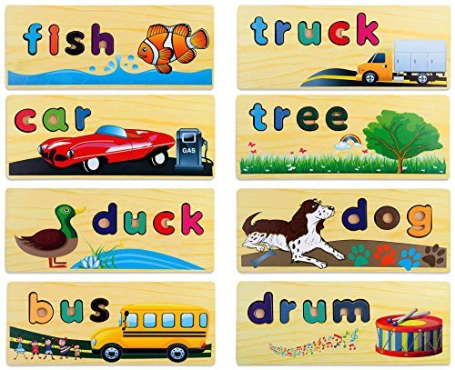 Kleeger Kids Word Puzzle Spelling Toy: Wooden Educational Learning Toy With Storage Case & 8 Friendly Spelling Boards. For Toddlers, Preschool. Improves Vocabulary & Fine Motor Skills by KLEEGER (Image #3)