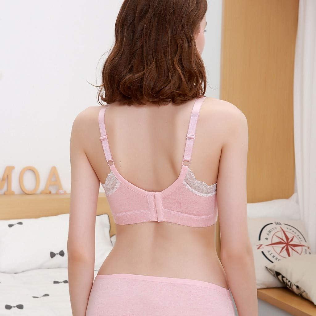 Kiminana Women No Steel Ring Lace Extra-Elastic Breathable Breastfeeding Bra Sleep Bra