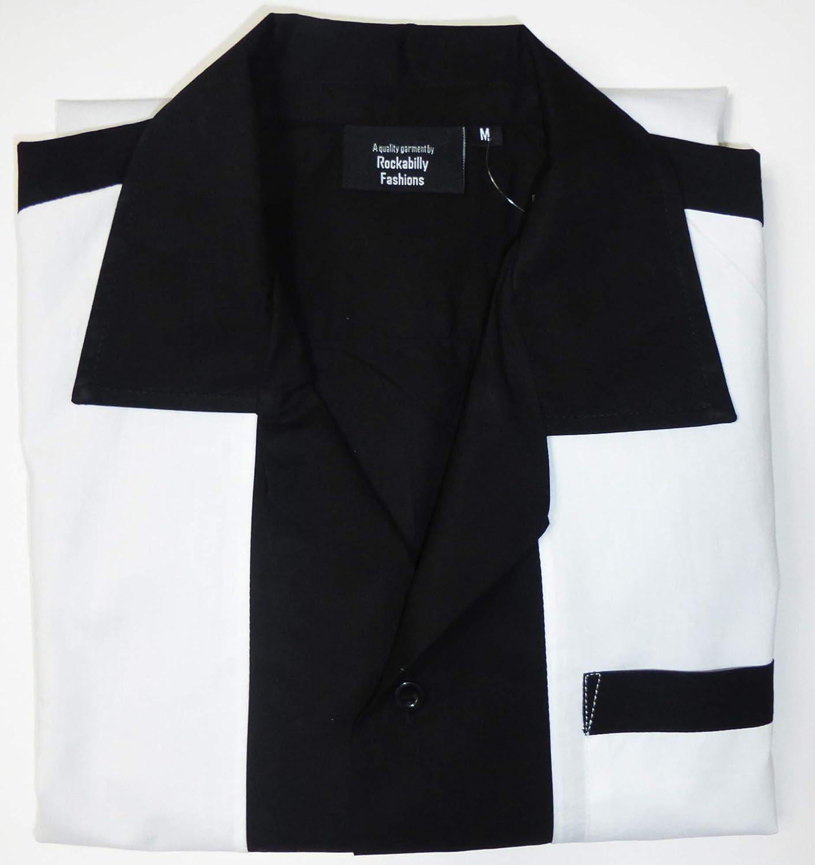 Rockabilly Fashion - Camisa Casual para Hombre con Nudos de los años Cincuenta, Retro, Vintage, para Hombres, Negro Blanco.: Amazon.es: Ropa y accesorios