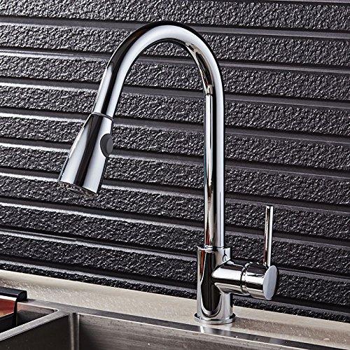 ROTOOY Wasserhähne Wasserhahn Küchenspüle Waschbecken Küche Ausziehbarer Wasserhahn Waschbecken Heiß Und Kalt Rotierenden Überzug Wasserhahn