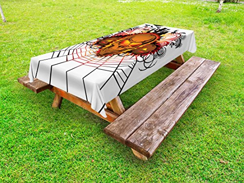 Ambesonne Halloween Outdoor Tablecloth, Angry Skull Face on Bonfire Spirits of Other World Concept Bats Spider Web Design, Decorative Washable Picnic Table Cloth, 58 X 84 inches, Multicolor