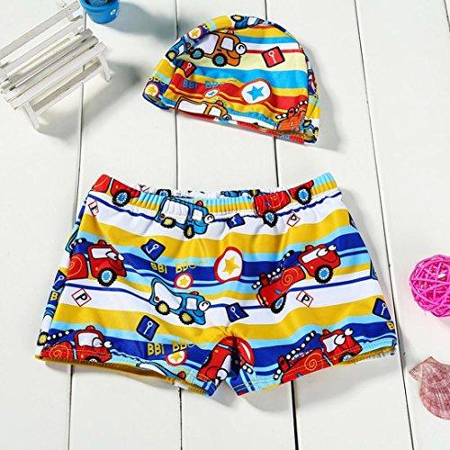 Omiky® 2Pcs Kinder Baby Boys Stretch Strand Badeanzug Bademode Badehose Shorts + Hat Set Rot