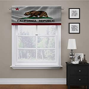 "carmaxs Window Valances American Decor Collection Blackout Thermal Curtain Valances California Historic Bear Flag Lone Star of Texas Nature Freedom Independence Image 56"" x 14"" Brown Green"