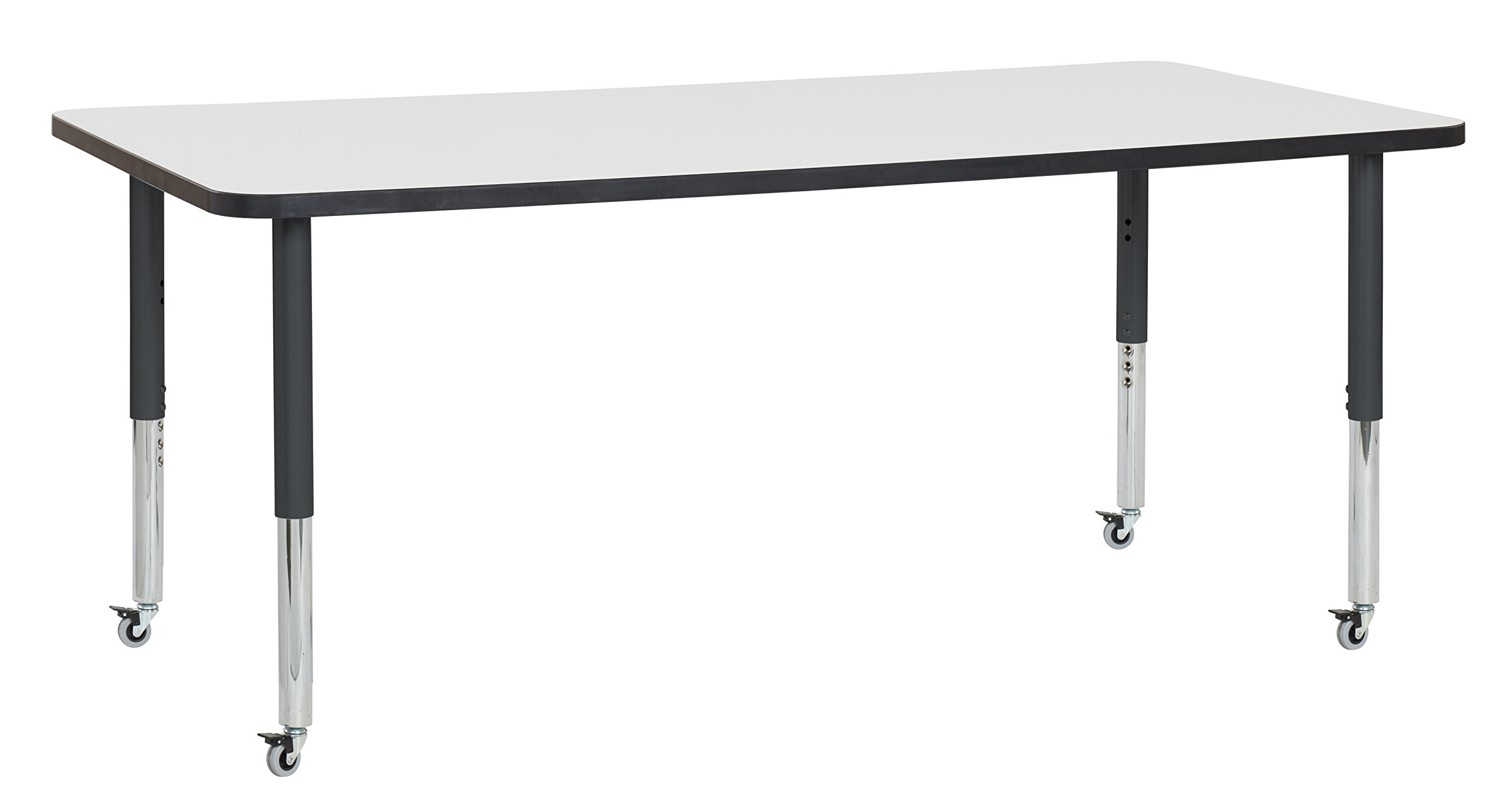 ECR4Kids Dry Erase 36'' x 72'' Rectangular Whiteboard School Activity Table, Super Legs w/ Glides and Casters, Adjustable Height 19-30 inch (Black)