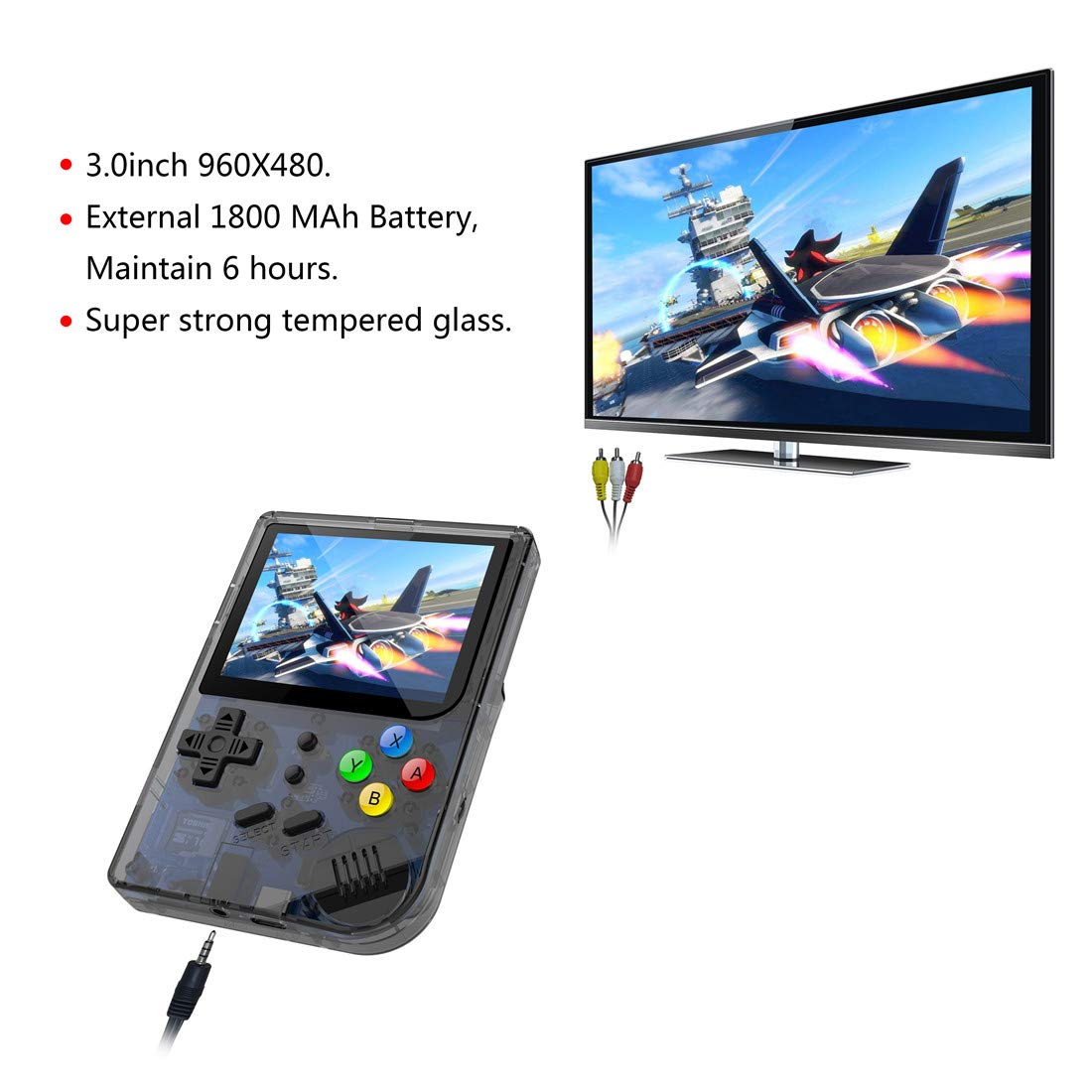 3 INCH Video Games Portable Retro FC Console New BittBoy Retro Game Handheld Games Console Player RG 300 16G 3000 Games Best Gift (Black) by Neutral (Image #5)