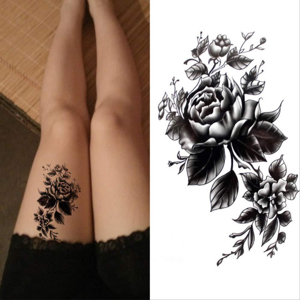 ZPF Tatuaje Negro grande flor cuerpo arte impermeable temporal ...